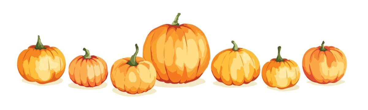 Watercolor pumpkins. Vector illustration in watercolor painting style. Background for Thanksgiving Day or harvest festival.