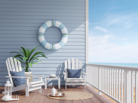 House terrace by the sea 3d render,There has wooden floors,blue plank walls decorated with swim ring,Furnished with white wood furniture , overlooking the beach and sea view.