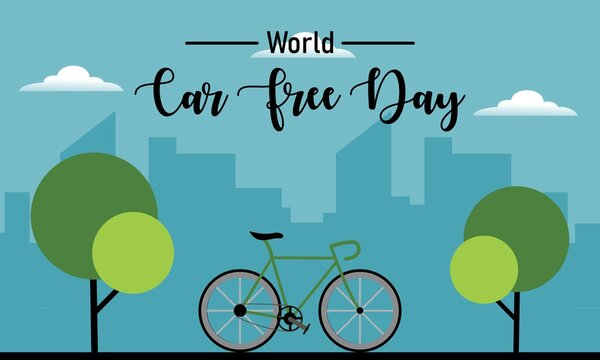 World car free day vector illustration. Great for annual celebration of World Car Free Day poster and banner