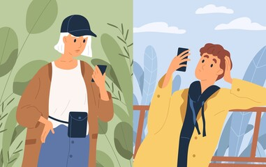 Couple chatting looking at screen of smartphones vector flat illustration. Casual woman and pensive man communicating online use app messenger. People having internet conversation to each other
