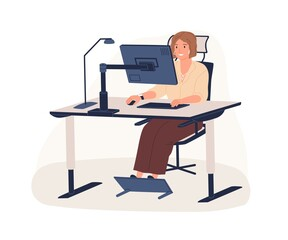 Photo sur Toile Les Textures Happy female office worker sitting on chair at ergonomic workstation vector flat illustration. Modern woman working use computer looking at monitor isolated on white. Employee at innovative workplace