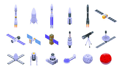 Space station icons set. Isometric set of space station vector icons for web design isolated on white background