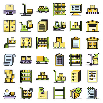 Inventory icons set. Outline set of inventory vector icons thin line color flat on white