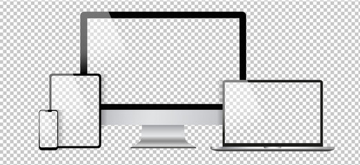MacBook, iMac and iPhone mockup design. Realistic computer, notebook, tablet and smartphone vector rendering for illustration. Background and web icon assets for computer technology. Transparent.