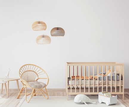 Interior of Scandinavian baby room with comfortable crib and rattan armchair in nursery decor, 3D render
