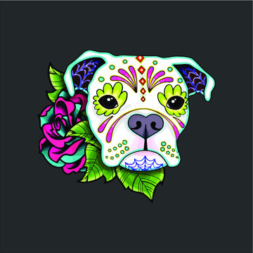 Boxer In White Day Of The Dead Sugar Skull Dog design vector new design vector new