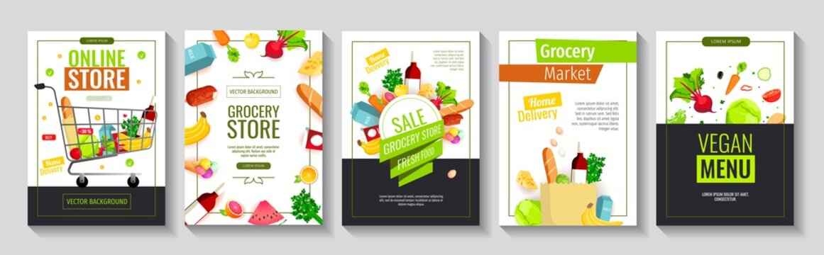 Set of flyers with groceries. Grocery store, Shopping, Supermarket, Fresh food, Home delivery, Ordering, Sale concept. A4 vector illustration for poster, banner, flyer, advertising, promo, commercial.
