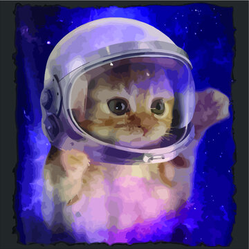 Cute Space Cat Astronaut Kitty Space Helmet Deep Space Tee design vector new design vector new