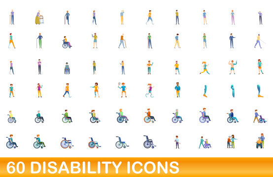 60 disability icons set. Cartoon illustration of 60 disability icons vector set isolated on white background