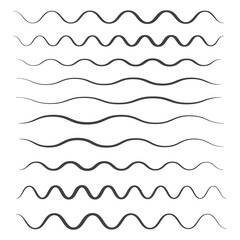 Waves outline icon. Wave thin line symbol. set of zigzag and wave borders