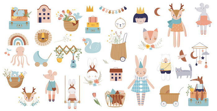 Trendy baby and children icons, stickers, tattoos. Vintage style. Vector illustrations