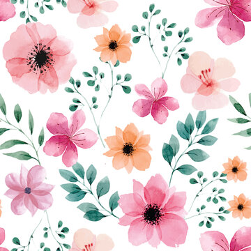 Seamless pattern with spring flowers and leaves. Hand drawn watercolor background. Floral pattern for wallpaper or fabric.