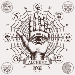 Open palm with all seeing eye symbol. Vector hand-drawn banner on the theme of alchemy with human hand, web, esoteric and magic symbols written in a circle in retro style