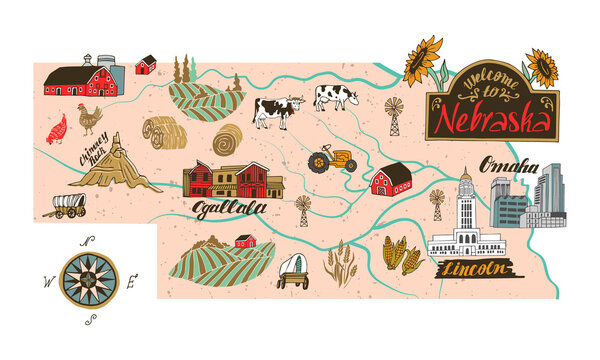 Illustrated map of  Nebraska state, USA. Travel and attractions. Souvenir print