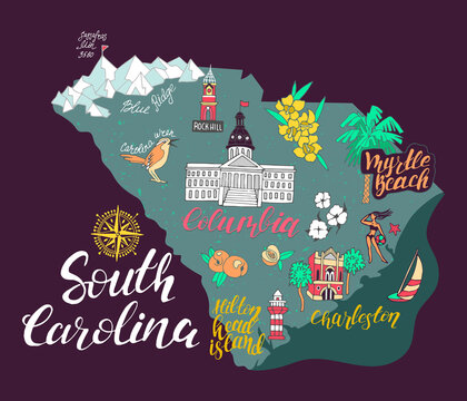 Illustrated map of  South Carolina, USA. Travel and attractions. Souvenir print
