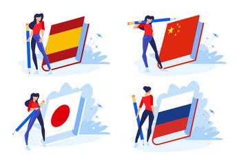Language school and courses. Vector illustrations of woman in different poses with pencil and a book for learning a foreign language. Concepts for graphic and web design.