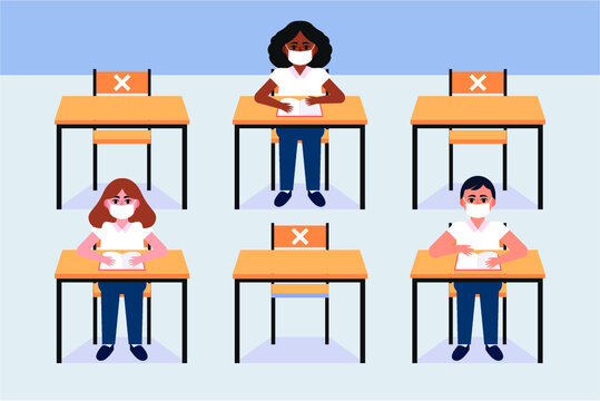 Back to school for new normal lifestyle banner social distancing in class room Concept, Prevention tips infographic of coronavirus 2019. boy and girl wearing mask Sitting on the desk