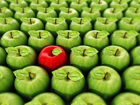 Red apple standing out from green apples. 3D illustration