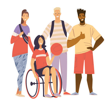 Multicultural Sport Team Portrait. Happy disabled girl sitting in wheelchair and holding basketball ball. A young woman plays basketball in a wheelchair. Inclusiveness, activity of the disabled.