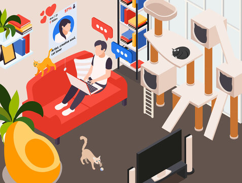 Online Dating Isometric Composition