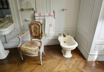 La Ferté Saint Aubin, France, 05-28-2017 historical bathroom inside the palace with wooden floor and bidet
