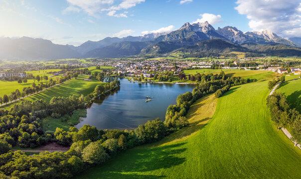 Aerial view over Saalfelden with Steinernes Meer in Summer, Salzburg, Austria