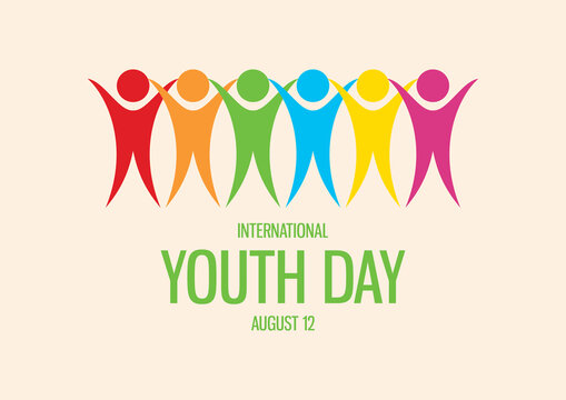 International Youth Day vector. Group of people abstract icon. Multicolored people icon vector. Colorful people figures standing in a row vector. Youth Day Poster, August 12. Important day