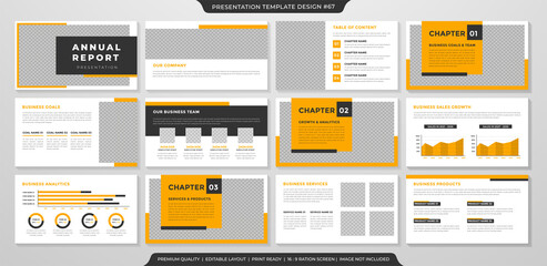 business annual report presentation layout template with clean minimalist style