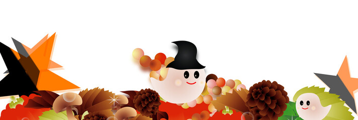 ハロウインの可愛いお化けと秋の葉やカボチャやキノコに星のイラストバナー素材