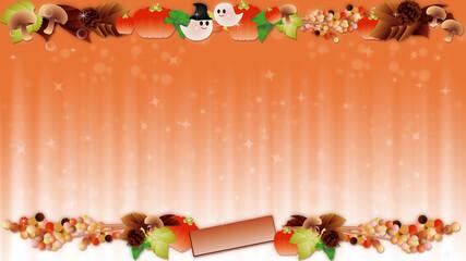 ハロウインの可愛いお化けと秋の葉やカボチャやキノコのイラストワイドバーチャル背景素材