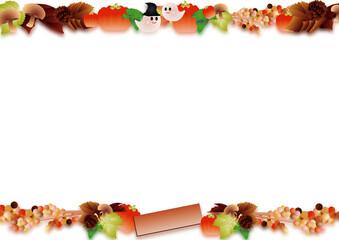 ハロウインの可愛いお化けと秋の葉やカボチャやキノコのイラスト背景素材