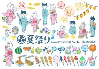 夏祭り 手描きベクターイラストセット(猫)