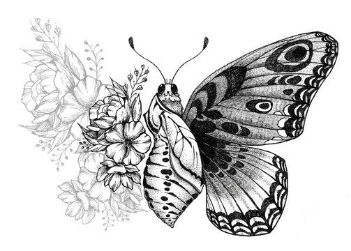 Butterfly tattoo design with flowers. Turning chrysalis into butterfly. Birth of butterfly from cocoon. Butterfly with wing of flowers. Tattoo for forearm, thigh, back. Symbol of transformation