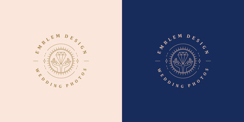 Minimal vector illustration of linear style emblem template with female hands holding luxury