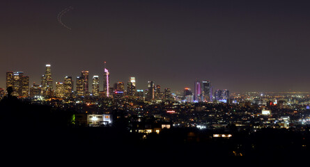 Los Angeles, USA, panorama view over the downtown by night, beautiful illuminations
