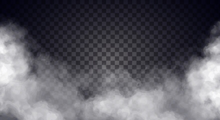 Wall Murals Smoke White fog or smoke on dark copy space background. Vector illustration