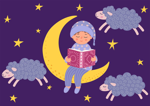 Bedtime story. Cute little boy reads book. Child in pajama sitting on the moon. Night starry sky with clouds in form of sheeps