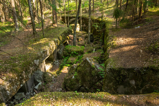 Old passages of the Giant Fort near Vyborg at summer