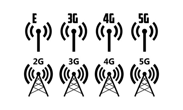 Antenna mobile and radio icon set. Connection quality. Vector EPS 10