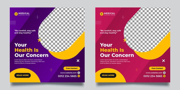 Healthcare & medical social media banner & Square Flyer Templates