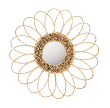 wooden rattan frame with mirror isolated on white background. Details of modern boho bohemian style , eco design interior