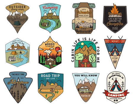 Camping adventure badges logos set, Vintage travel emblems. Hand drawn stickers designs bundle. Hiking expedition, road trip labels. Outdoor camper insignias. Logotypes collection. Stock vector.