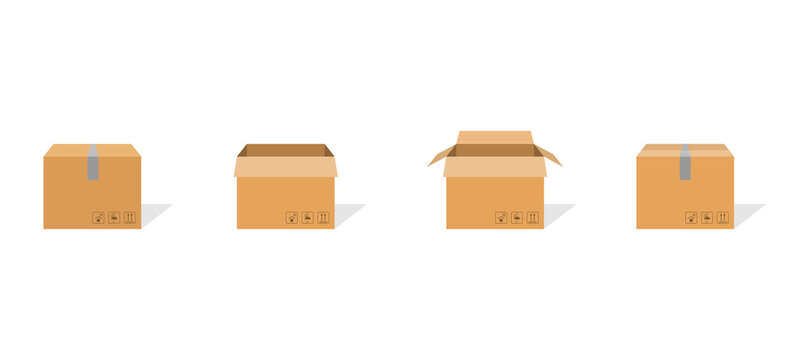 Carton box container set. Package delivery parcel with scotch and fragile sign. Open and closed carton pack with shadow. Warehouse symbol in flat design. Brown cardbox. Vector EPS 10.