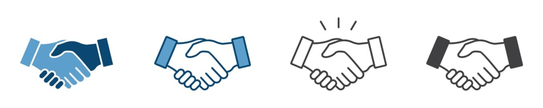 Business agreement handshake icon in different style vector illustration, friendly handshake icon for apps and websites
