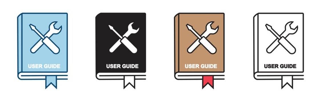 User guide book icon set in line style. manual user book vector icon for web design isolated on white background