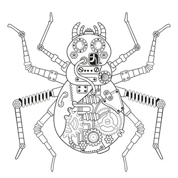 Steampunk vector coloring page. Vector coloring book for adult for relax and medetation. Art design of a fictional mechanical spider