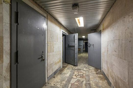 Corridor with armored iron security doors