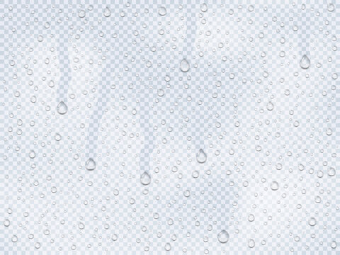 Realistic water droplets on the glass, rain drops on a window or steam transudation in shower, water droplets condensed on cold surface an isolated template