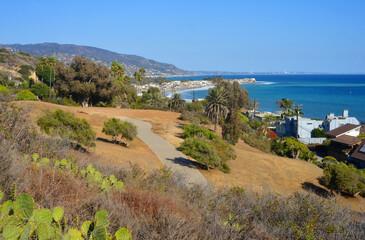 Malibu, California, USA, scenic view over the coast to Los Angeles at the horizon