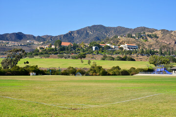 Malibu, California, USA view from Bluffs Park and sport center to the Pepperdine University